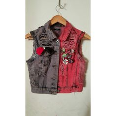 Harley quinn punk vest ($70) ❤ liked on Polyvore featuring outerwear, vests, punk vest, red vest, red waistcoat, punk rock vest and vest waistcoat