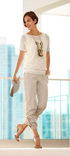 Off white crochet sweater, tan capris, brown jewelry, brown sandals (maybe leopard instead)