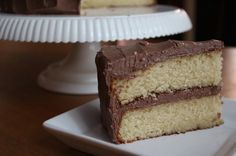 Classic Yellow Cake with Chocolate Cream Cheese Frosting. Nothing better than Yellow Cake from scratch!