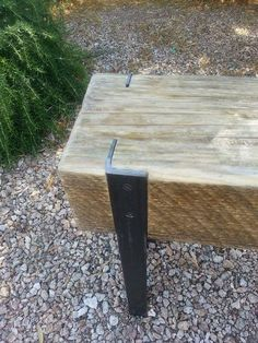 Upcycled wood beam and angle iron bench