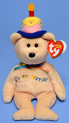 Happy Birthday (orange with candle hat) - Bear - Ty Beanie Babies Rare Beanie Babies, Beanie Baby Bears, Ty Beanie Boos, Giant Stuffed Animals, Sewing Stuffed Animals, Happy Birthday Bear, Ty Bears, Ty Babies, Baby Friends