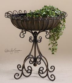 Nola, Floor Planter 31x33x16 antiqued copper bronze//hand forged and hand hammered metal via Uttermost
