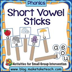 Reinforce teaching of the short vowel sounds with these two fun Make, Take & Teach activities.  Make a set of vowel sticks for each student in your classroom and use the activity for practice for everyone, or make a few sets for use in your small group intervention.