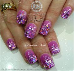Luminous Nails: Glittery Orchid Acrylic Nails