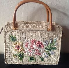 Vintage Fossil Woven Embroidered Handbag Wooden Handles Flower Print Beautiful!