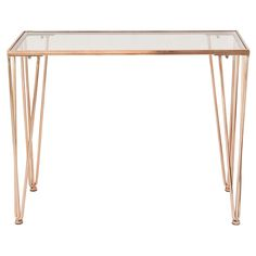 DecMode Metal Console Table - Copper | from hayneedle.com