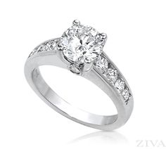 Cathedral Engagement Ring with Channel Set Rounds on Sides