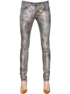 FAITH CONNEXION - COATED STRETCH COTTON DENIM JEANS - LUISAVIAROMA - LUXURY SHOPPING WORLDWIDE SHIPPING - FLORENCE
