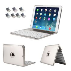 Aluminum Wireless Bluetooth Keyboard Folios Case Smart Cover for iPad Air 2 New