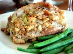 STUFFED PORK CHOPS RECIPE: Take a look at my recipe for making some delicious Stuffed Pork Chops. Onions, celery, bread croutons and parsley are stuffed into thick boneless pork chops that are browned in a skillet and then baked until fully cooked yet still moist and tender.