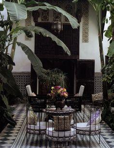 Private Courtyard, Spanish Colonial and Moorish Design, Sevilla, Spain.