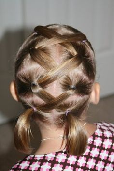 lattice hairstyle for girls-  cute with bows at the end