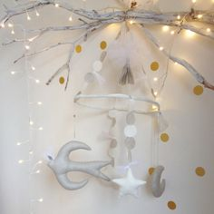 Creme Anglasie baby mobile, such sweetness. #estella #gifts #kids #baby
