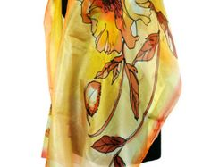 New collection! Hand painted silk scarf. Yellow , green floral silk chiffon scarf. Painting by hand beautiful scarf. Summer gift for you, your mother , or sister, or wife. One of my favorite scarfs. Soft silk chiffon. Floral scarf. This scarf is a wonderful accessory to your outfit. It gives a very fresh and elegant charm to your clothing and yourselves! It is suitable to be worn in all seasons. Made by GABYGA. The scarf is available.  dimensions: 18/70 or 50/180 cm long  Very beaut...