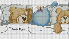 This Pin was discovered by Liz Cross Stitch For Kids, Cute Cross Stitch, Cross Stitch Animals, Cross Stitch Charts, Cross Stitch Patterns, Cross Stitching, Cross Stitch Embroidery, Hand Embroidery, Baby Staff