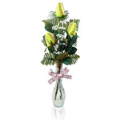 """Softball Rose """"Triple Play"""" Arrangement - Great softball gift for home or office.  $59.95"""