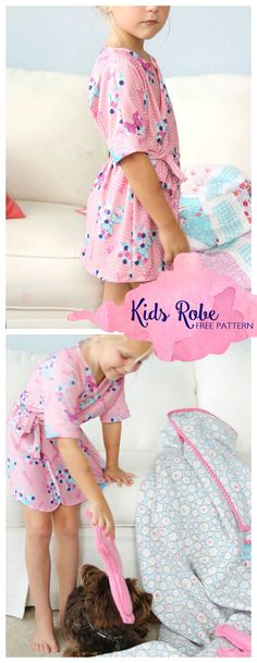 how to sew an easy kids bathrobe, with free robe sewing pattern