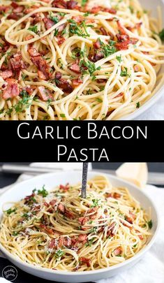 This Easy Garlic Bacon Pasta Recipe is going to be your go-to weeknight meal whe. This Easy Garlic Bacon Pasta Recipe is going to be your go-to weeknight meal when you need a quick dinner on the tab Bacon Noodle Recipes, Pastas Recipes, Easy Pasta Recipes, Easy Dinner Recipes, Cooking Recipes, Italian Pasta Recipes, Recipe Pasta, Delicious Pasta Recipes, Pasta Ideas