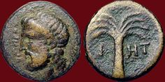 Numerous cities claimed to be the birthplace or Homer: coins from Amastris, Colophon, Ios or Smyrna bear witness. According to legend, it was at Chios that the Poet is supposed to have composed his poems and to have taught his songs.- Ios (Cyclades), IIe siècle av. J.-C. Bronze ; 3,82 g ; ø 1,1 cm BnF, Monnaies, Médailles et Antiques, Luynes 2375 Avers : tête d'Homère à g., barbue, les cheveux ceints de la ténie ; devant, en lettres très petites, OMHPOΣ. Revers : palmier ; de part et d'autre