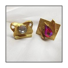 Vintage Swank Cufflinks Crystals in Mod Gold Settings Mens Jewelry ($85) via Polyvore