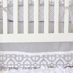 Mod Lattice Crib Bedding Set in Vintage Gray