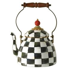 The MacKenzie-Childs Enamelware Courtly Check Two Quart Tea Kettle uses heavy-gauge steel w/ hand-painted Checks, ceramic glaze, and bronzed stainless steel.