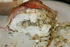 Pesto, cheese and onion stuffed Chicken with bacon