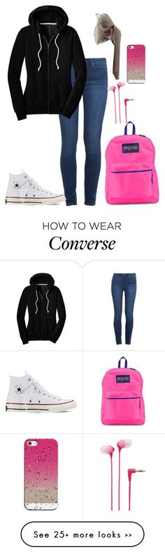 School by mayaxoxo3 on Polyvore featuring Paige Denim, Converse, JanSport, Sony and Casetify