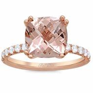 Morganite Square Pave Engagement Ring