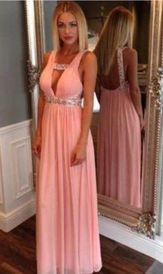 Long Prom Prom Dress,Deep V-Neck Prom Dress,Sexy Prom Dress,Sleeveless Prom Dress,Chiffon Prom Dress With Princess Prom Dresses, Prom Dresses 2016, Pink Prom Dresses, Backless Prom Dresses, Beautiful Prom Dresses, Sexy Dresses, Formal Dresses, Dress Prom, Dress Long