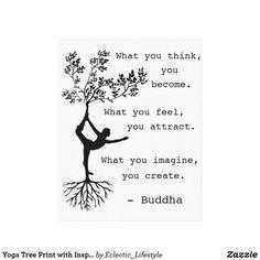 Yoga Tree Print with Inspirational Buddha Quote Buddha Quotes Inspirational, Uplifting Quotes, Yoga Quotes, Poetry Quotes, Winter Solstice Quotes, Tree Quotes, Yoga Decor, Abstract Geometric Art, Lifestyle Quotes