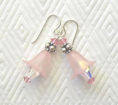 Pink Frosted Lily Lucite and Swarovski Sterling Silver Dangle Earrings. $21.00, via Etsy.