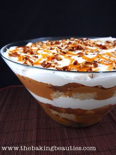 Gluten Free Caramel Apple Trifle - The Baking Beauties. You can also use a boxed gluten free cake mix and canned gluten free  apple pie filling.