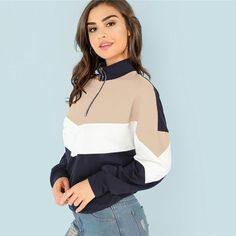 59f2dbeb12a08 O-Ring Zip Front Cut Sew Pullover Casual Long Sleeve Women Sweatshirt -  Multicolor