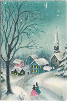 Vintage Greeting Card Christmas Church Steeple People Pink Blue Hallmark R262 | eBay