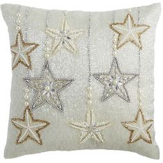 Let us introduce you to your newest star attraction. Our handcrafted pillow ups the glam in any room, with thousands of shimmery metallic beads and row after row of silver and gold stars. In fact, it's ready for its close-up. Glam Pillows, Throw Rugs, Throw Pillows, Living Room Pillows, Shining Star, Bead Shop, Decorative Throws, Gold Stars, Christmas Projects