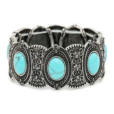 Oval turquoise antique metal stretch bracelet