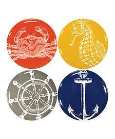 Look what I found on #zulily! Nautical Plate Set #zulilyfinds