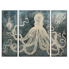 """IMAX Home 82210 """"Dorado"""" Three Panel Framed Giclee Octopus Painting Set on Canva Blue Home Decor Wall Decor Paintings and Prints Triptych Wall Art, Framed Wall Art, Wall Canvas, Canvas Art, Framed Prints, Wall Décor, Blue Wall Decor, Frame Wall Decor, Frames On Wall"""