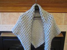 Dove Gray Crocodile Stitch Winter Wool Shawl by MonkeyCatBoutique, $60.00