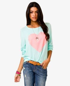 Forever 21 Neon Heart Top  Cream/Neon Pink color, Size: S or M $17.80....cute for Valentine's Day