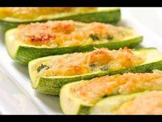 Calabacitas rellenas horneadas - Stuffed zucchini - Recetas de vegetales - Como cocinar - YouTube