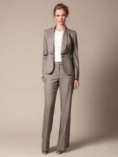 Carolina Herrera  Wool Double Shawl Lapel Pant Suit