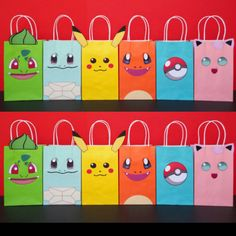 Instant Download Pokemon Favor Bags by CreativePartyStudio. Printable Pokemon Favor Bags---- Make your Party pop-out with these super cute Goodie/ Treat Bags!! Everyone will love them!! Buy this template @ my Etsy Shop for just $6.50 ------> https://www.etsy.com/listing/452488126/instant-download-pokemon-favor-bags Awesome Pokemon Party Favors Pokemon Cake- Pokemon Party Decoration. Pokemon cookies. Pokemon balloons. Pokemon treats. Pokemon candies. Pokemon invite. Pokemon invitation…