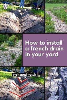 Backyard Drainage, Landscape Drainage, Drainage Ditch, Backyard Landscaping, Gutter Drainage, Diy Landscaping Ideas, Rock Drainage, Backyard Privacy, Backyard Designs