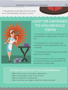 """Republic Act also known as the """"Kasambahay Law"""" was implemented last Tuesday, June To simplify the understanding of the sa. Labor Law, Household Items, Infographic, School, Infographics, Home Goods, Visual Schedules"""
