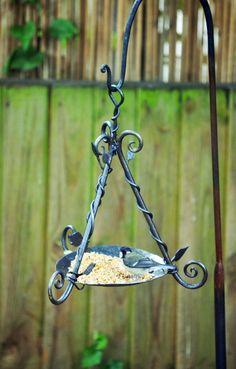 Hand forged, blacksmith made bird feeder