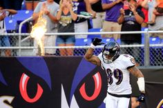 Wide receiver Steve Smith of the Baltimore Ravens is introduced before the start of an NFL pre-season game against the San Francisco at M&T Bank Stadium on August 2014 in Baltimore, Maryland. Football Team, Football Helmets, Steve Smith Sr, Baltimore Ravens Players, M&t Bank Stadium, Nfl Week, Wide Receiver, Sports Figures, San Francisco 49ers