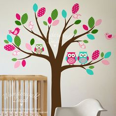 Tree Wall Decal with Birds Owls Wall Decal, Nursery, branch  , Pattern Wall Decals wall sticker