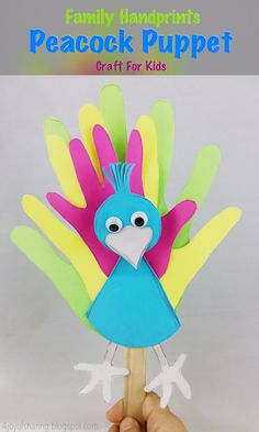 Peacock Puppet Craft Peacock Craft Handprints craft Paper Craft Craft for kids Family fun activities. Fall Crafts For Toddlers, Easy Toddler Crafts, Indoor Activities For Toddlers, Craft Projects For Kids, Crafts For Kids To Make, Arts And Crafts Projects, Fun Activities, Kids Crafts, Toddler Fun